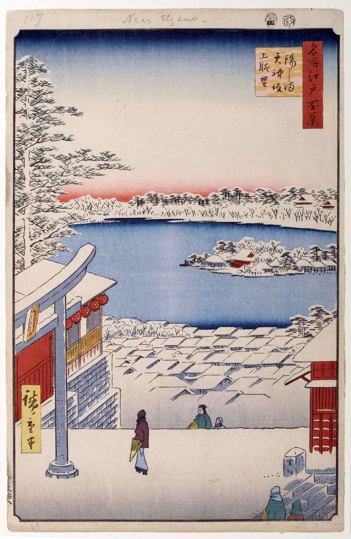 Widok ze wzgórza świątyń Tenzin w Yusima   Utagawa Hiroshige