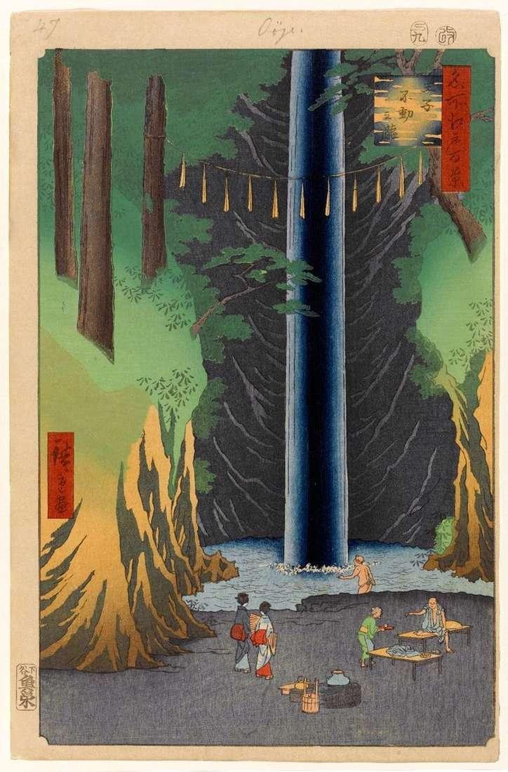 Wodospad Fudo, ale wciąż w Oji   Utagawa Hiroshige