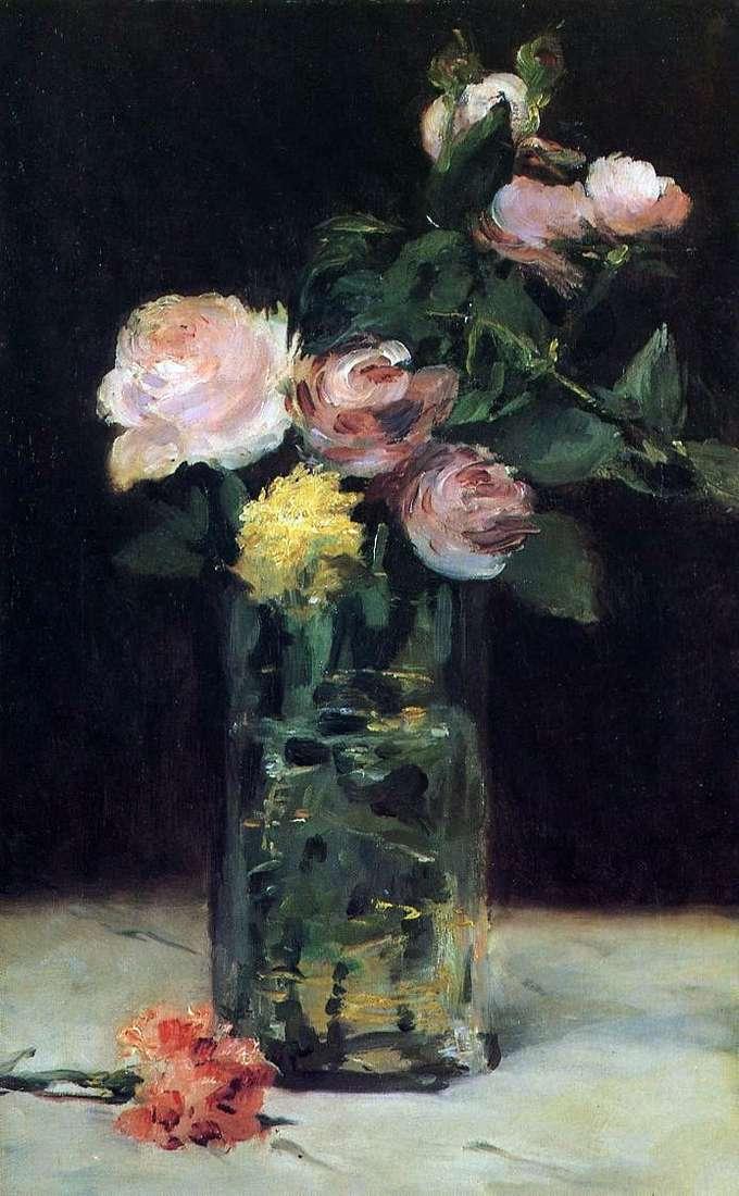 Róże w kryształowej wazonie   Edouard Manet