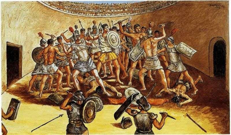 Bitwa gladiatorów na arenie   Giorgio de Chirico