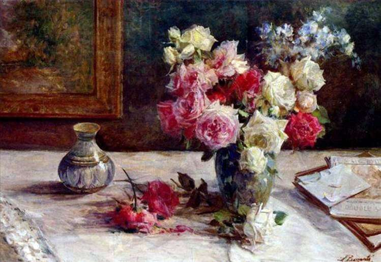 Róże w wazonie i kilka książek na stole   Licinio Barzanti