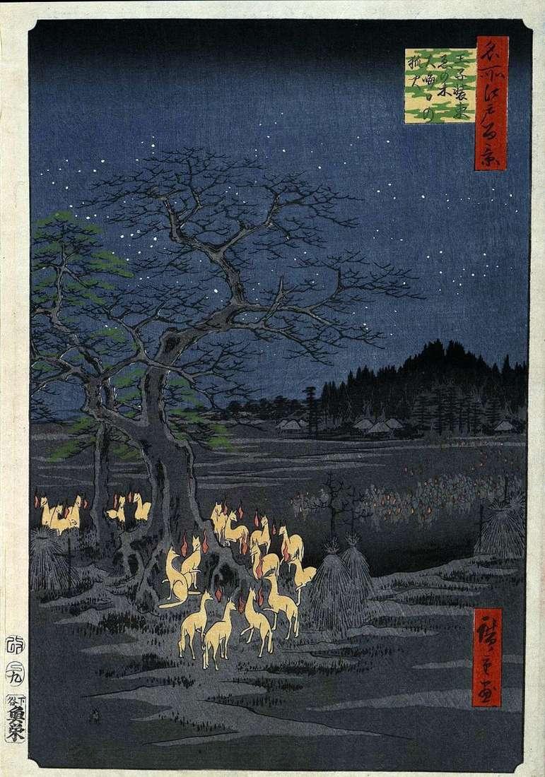 Światła Fox w przebraniu Iron Tree w Oji   Utagawa Hiroshige