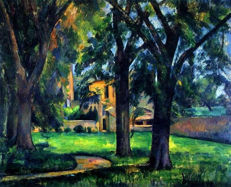 Kasztany i budynki gospodarcze w Zha de Buffans   Paul Cezanne