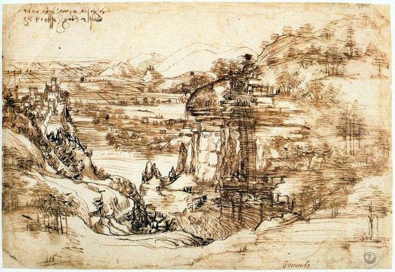 Krajobraz Arno   Leonardo da Vinci