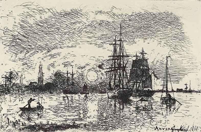 Zachód słońca w porcie w Antwerpii   Yongkind Johann Barthold