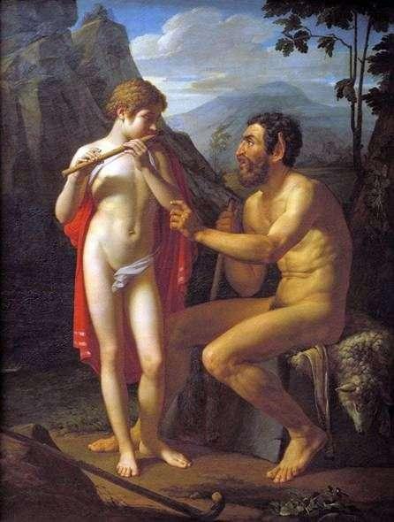 Faun Marsyus uczy młodego mężczyznę Olympię gry na flecie   Petera Basina