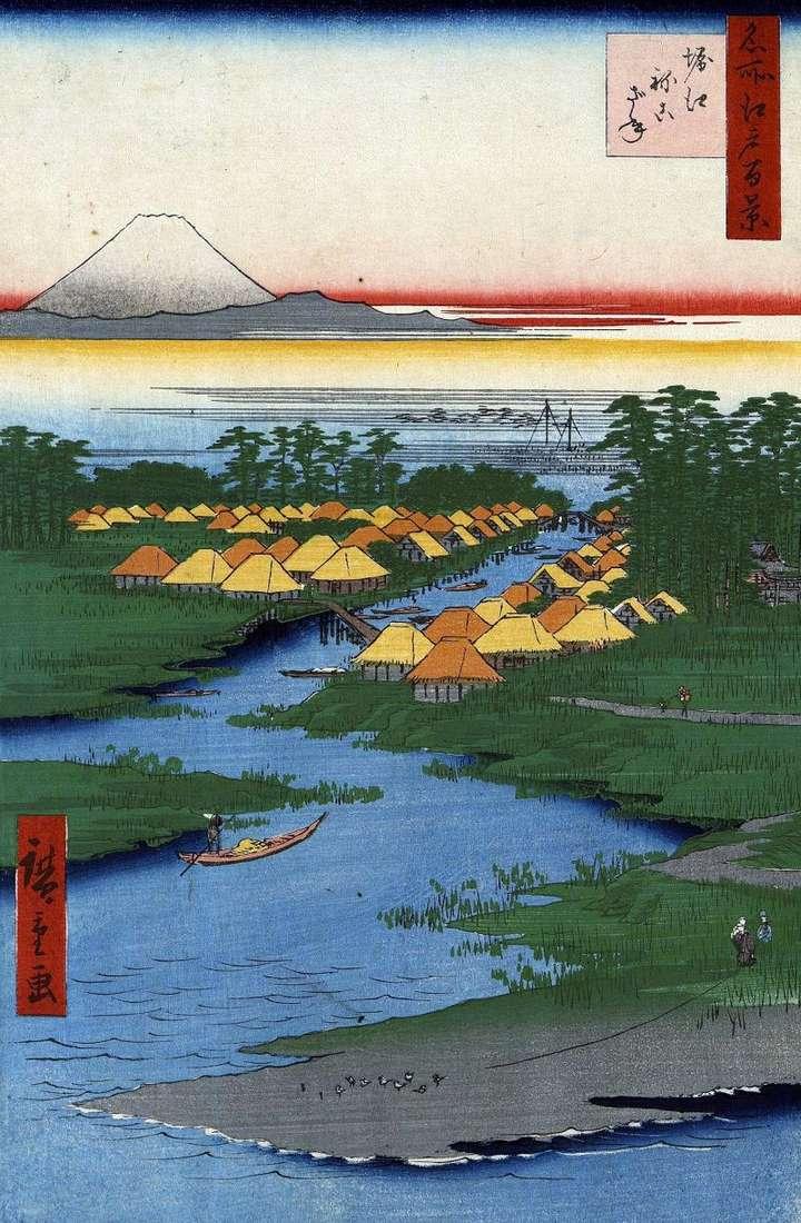 Horie i Nekozane   Utagawa Hiroshige