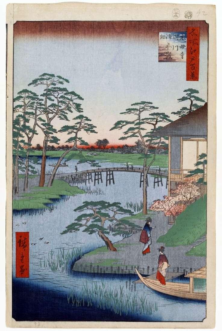 Klasztor Mokuboji, rzeka Utigawa i pola Godzaihihat   Utagawa Hiroshige
