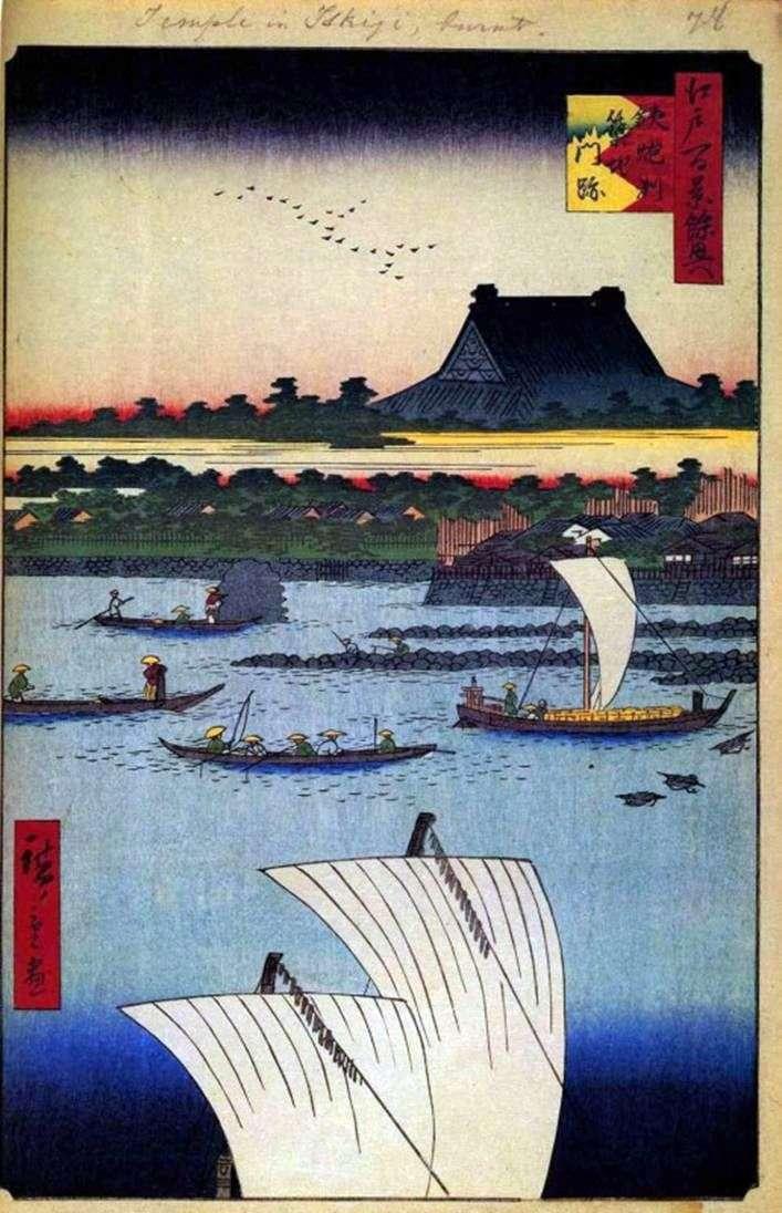 Klasztor Nishi Hongadzi w Tsukiji manski na Shallows of Teppozu Teppozu Utagawa Hiroshige