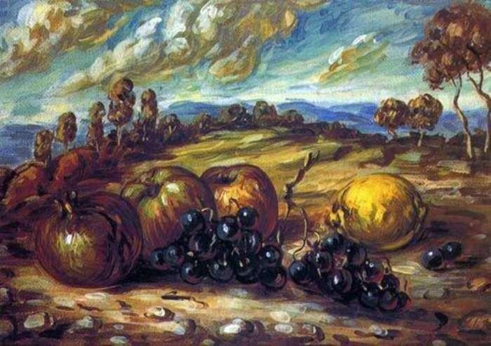 Owoce w krajobrazie   Giorgio de Chirico