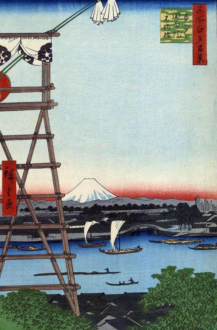 Klasztor Ekoinów w Regoku i Most Moto Yanagashi   Utagawa Hiroshige