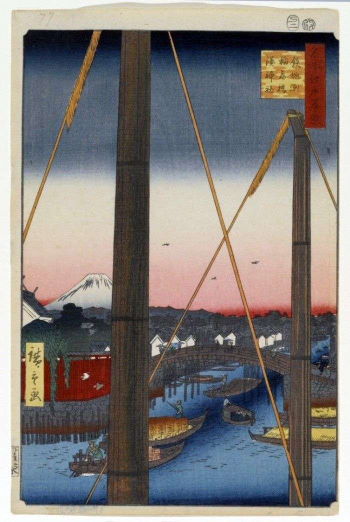 Most Inari bashi w Teppozu, Sanktuarium Minato Jinja   Utagawa Hiroshige