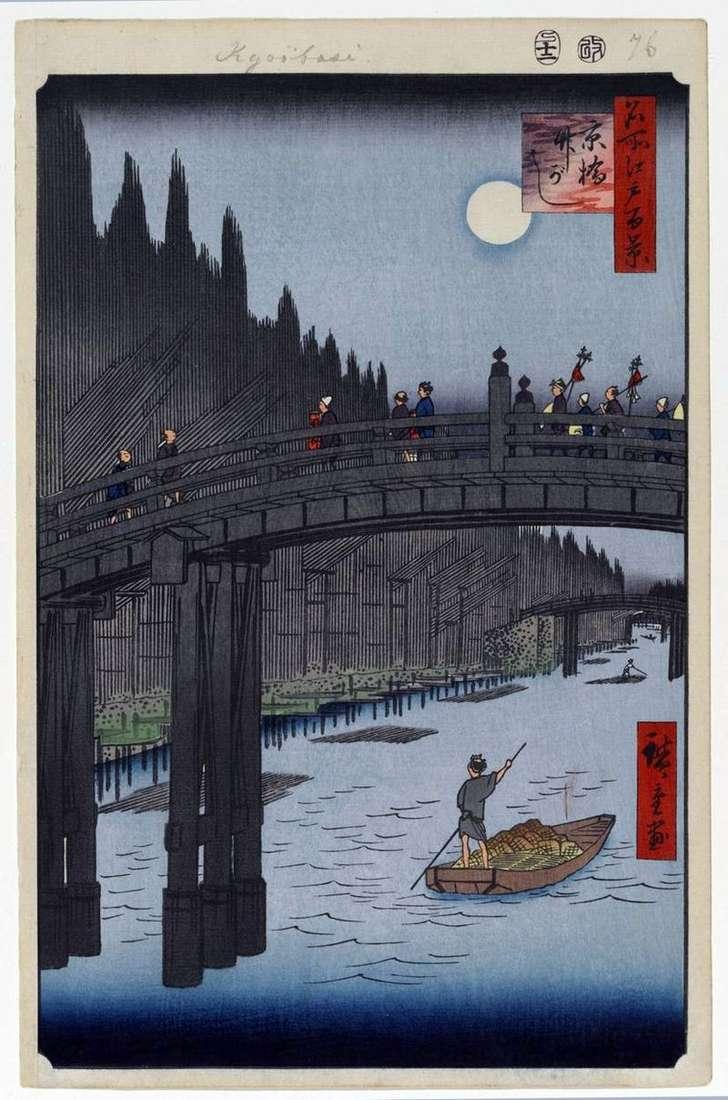 Most Kebasi i Nabrzeże Takegashi   Utagawa Hiroshige