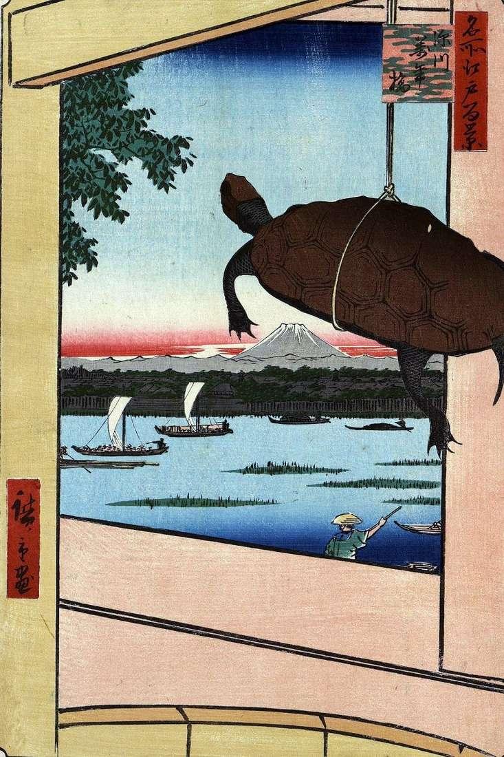 Mannambashi Bridge w Fukagawa   Utagawa Hiroshige