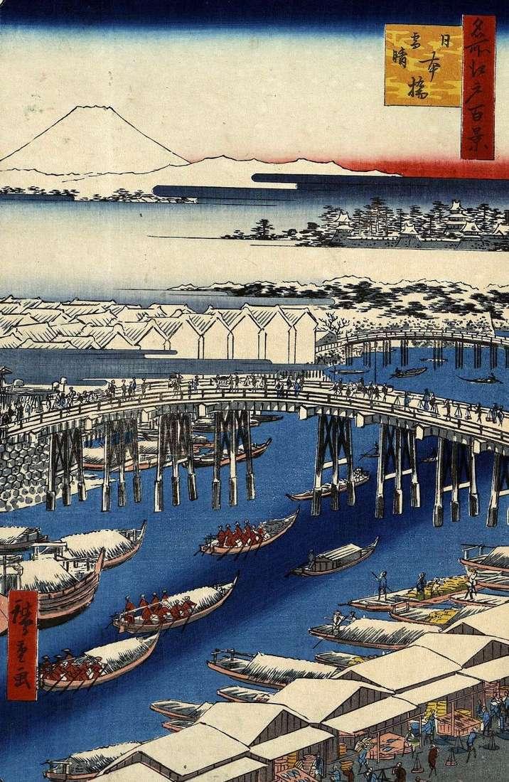 Most Nihonbashi w bezchmurną pogodę po opadach śniegu   Utagawa Hiroshige
