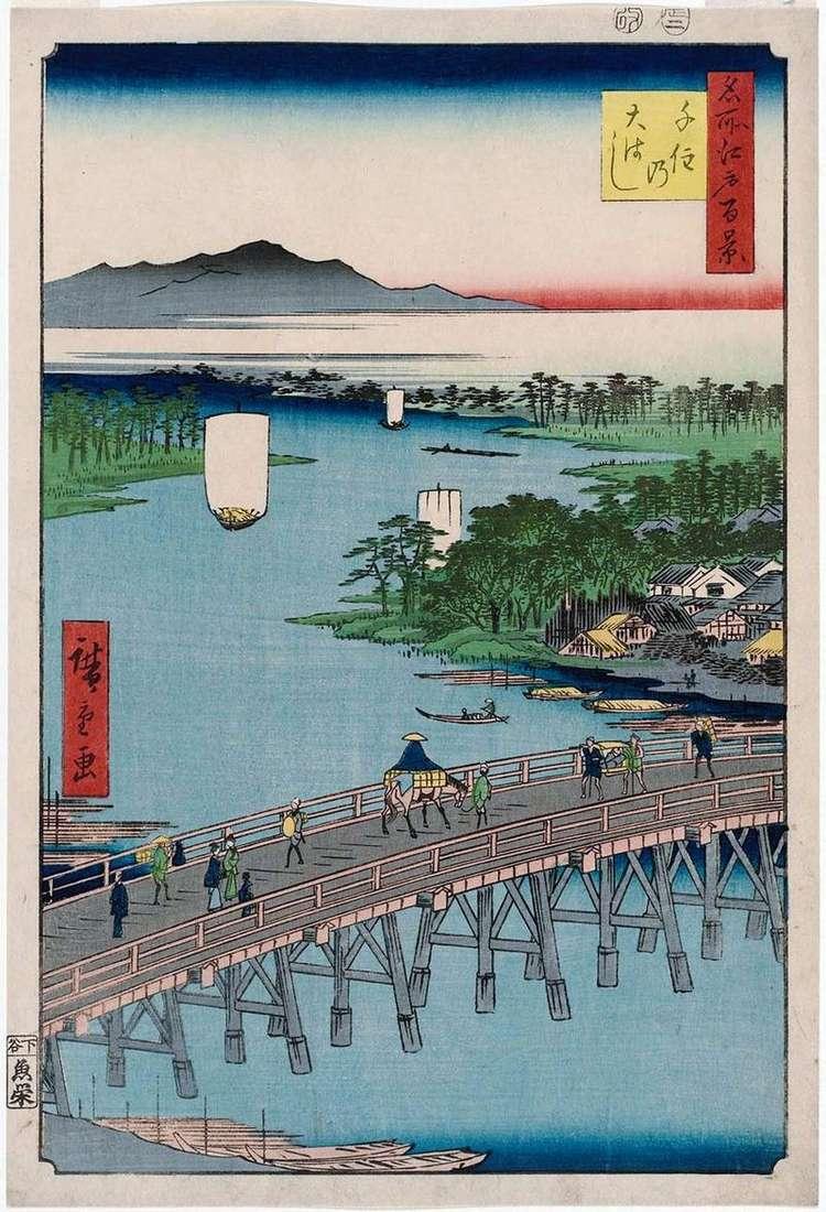 Most Ohashi w Senju   Utagawa Hiroshige
