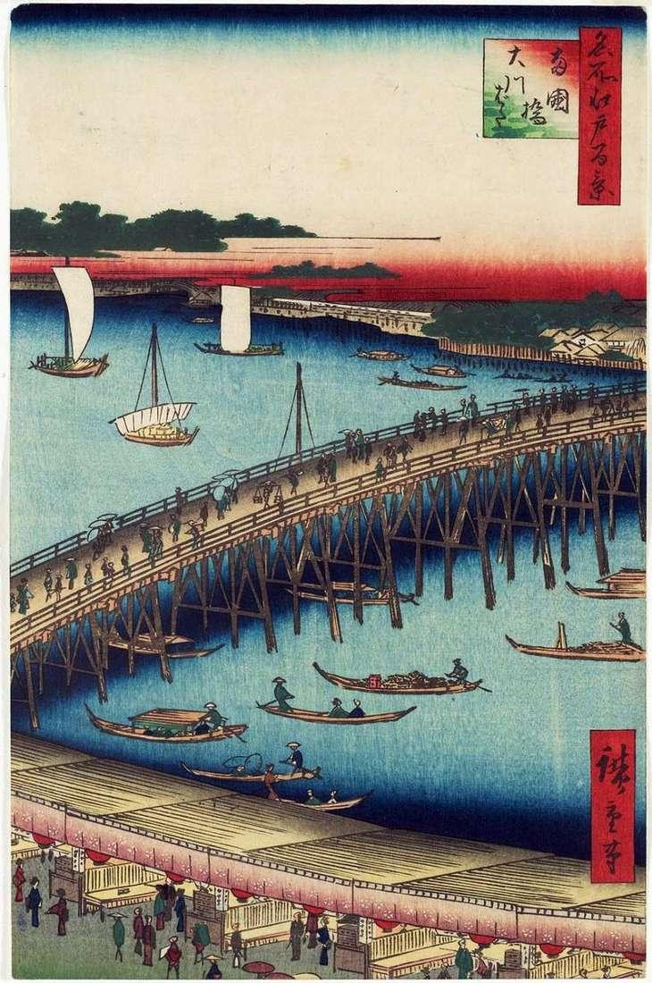 Most Regokubashi i nabrzeże Okavabaty   Utagawa Hiroshige