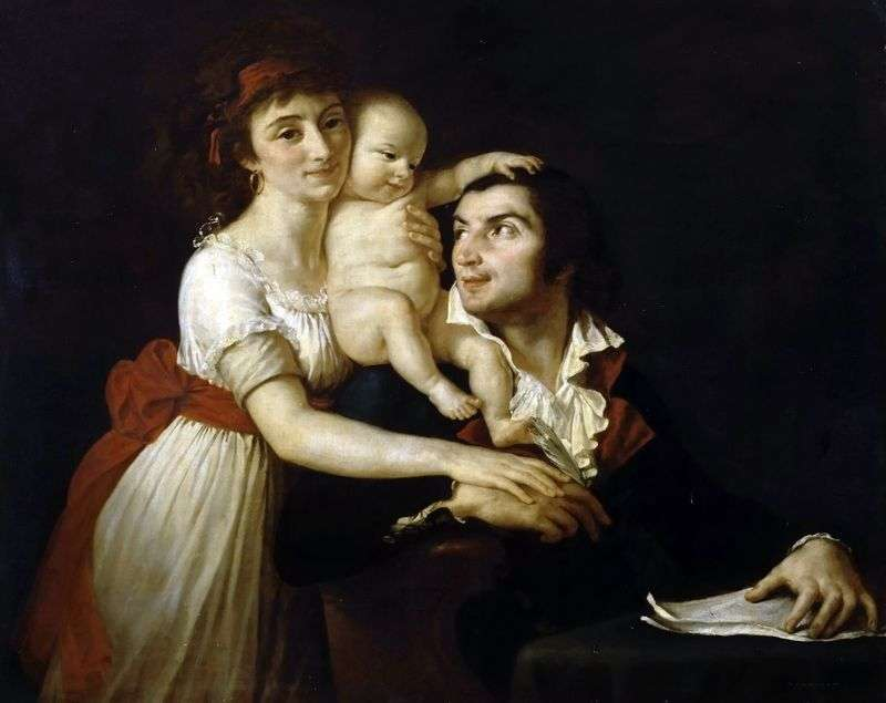 Camille Desmoulins z żoną Lucy i dzieckiem   Jacques Louis David