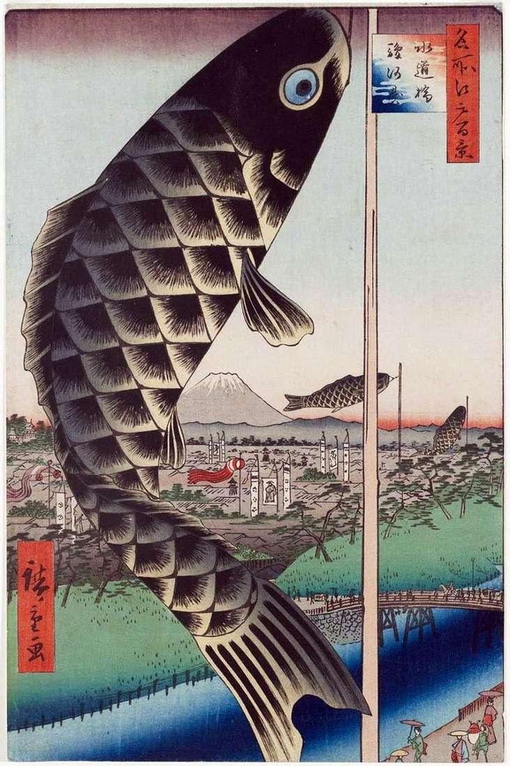 Suydubashi Bridge w Surugadai   Utagawa Hiroshige