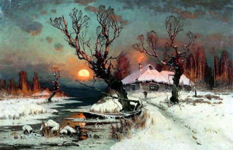 Zachód słońca w zimie   Julius Clover