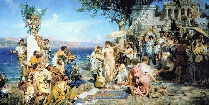 Phryne na święcie Posejdona w Eleusis   Heinrich Semiradsky