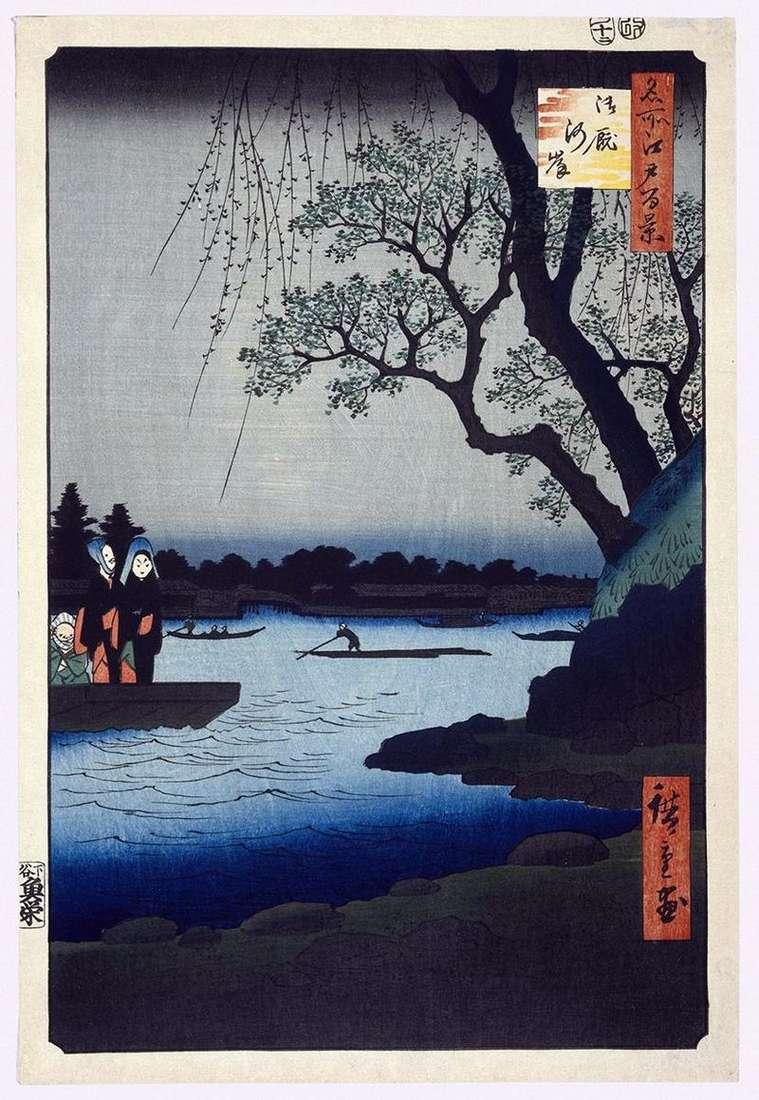 Nabrzeże Ommayagashi   Utagawa Hiroshige