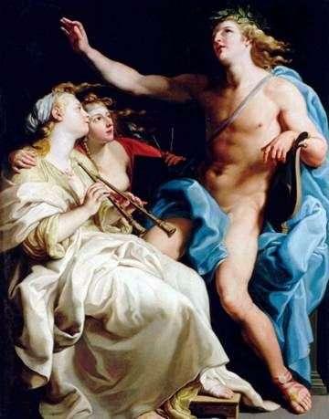 Apollo i dwie muzyczki   Pompeo Batoni