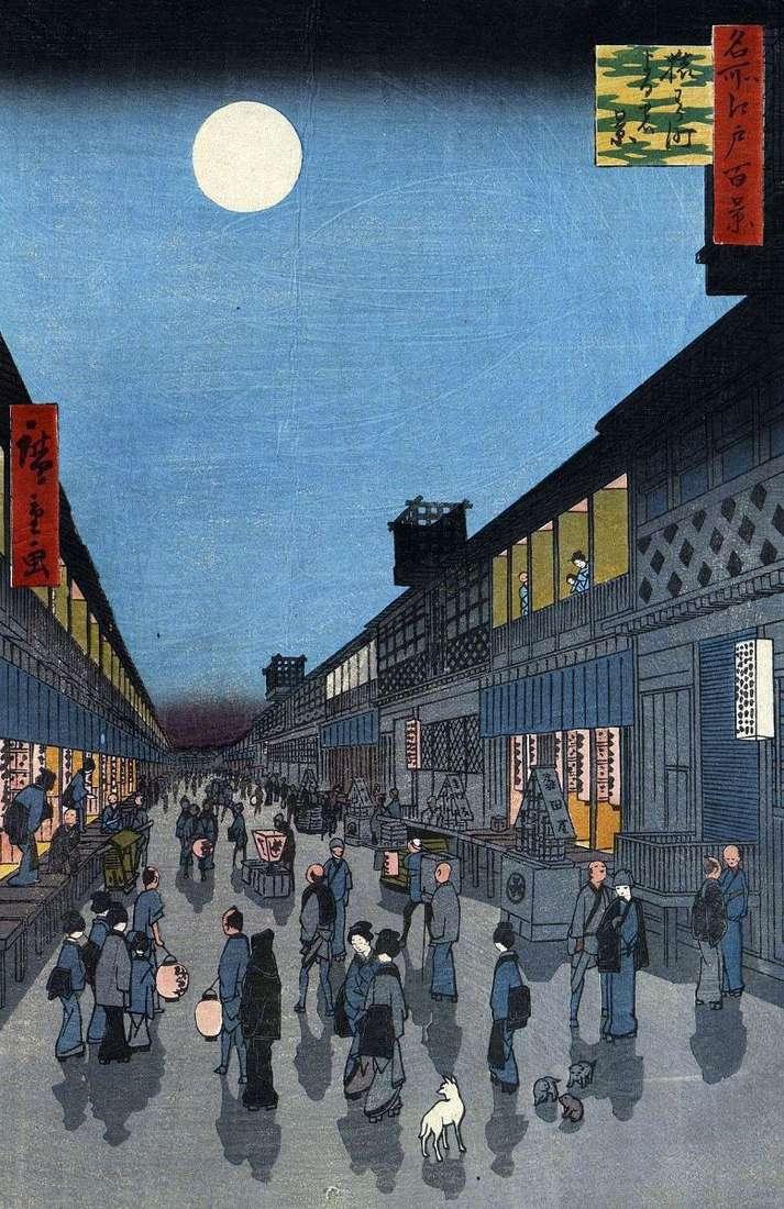 Nocny widok na dzielnicę Saruvaka mati   Utagawa Hiroshige