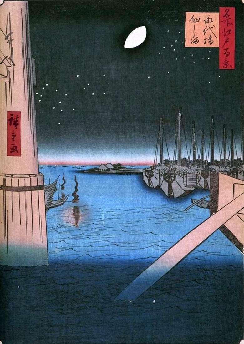 Wyspa Tsukudajima z mostu Eitashibi   Utagawa Hiroshige