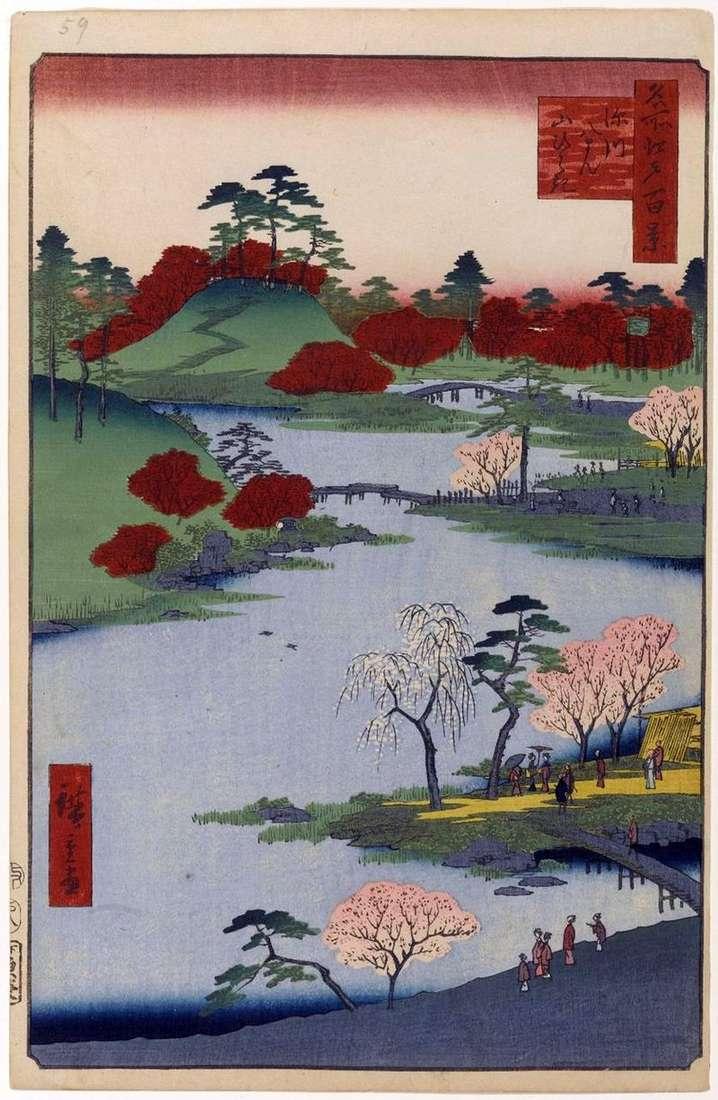 Odkrycie gór w sanktuarium Hatiman w Fukagawa   Utagawa Hiroshige