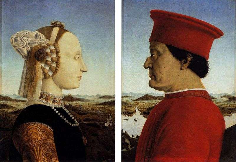 Federigo da Montefeltro i jego małżonka Battista Sforza   Francesca Piero