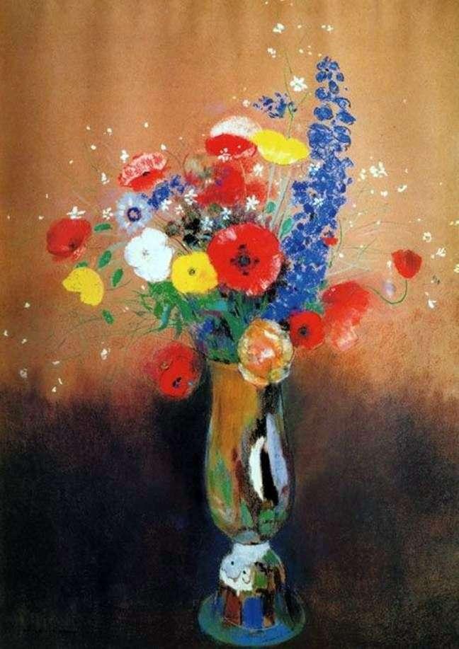 Dzikie Kwiaty W Wysokim Wazonie Odonon Redon
