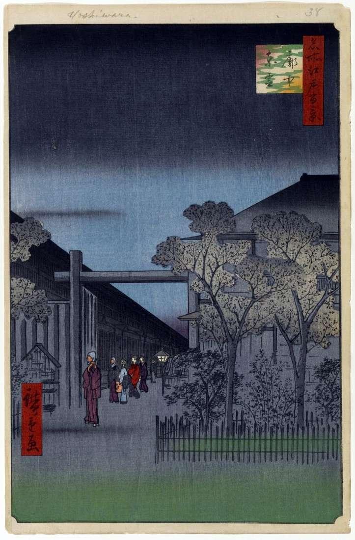 Świt w dzielnicy Esivara   Utagawa Hiroshige
