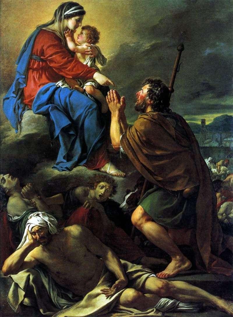 Święty Roch, modląc się za Theotokos o uzdrowienie nękanych   Jacques Louis David