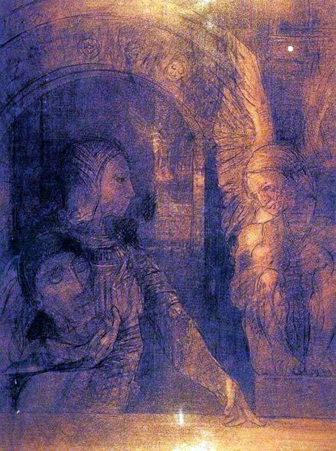 Tajemniczy rycerz lub Sfinks   Odilon Redon
