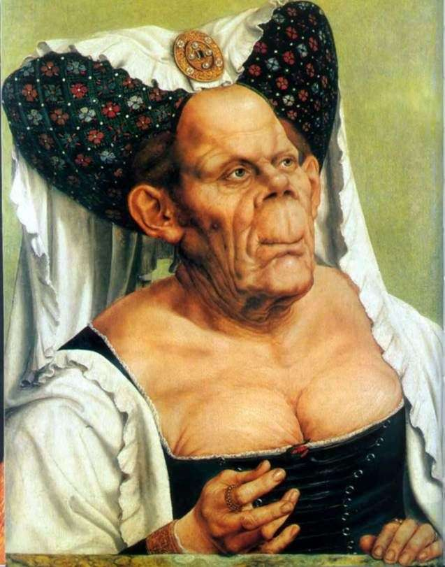 Groteskowy portret starej kobiety (brzydkiej księżnej)   Quentin Mauss