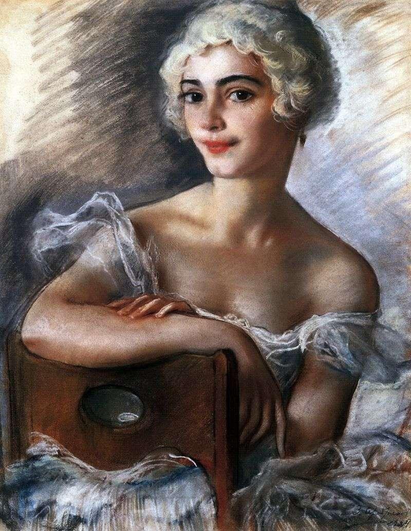 Portret E. N. Heidenreich w białej peruce   Zinaida Serebryakova