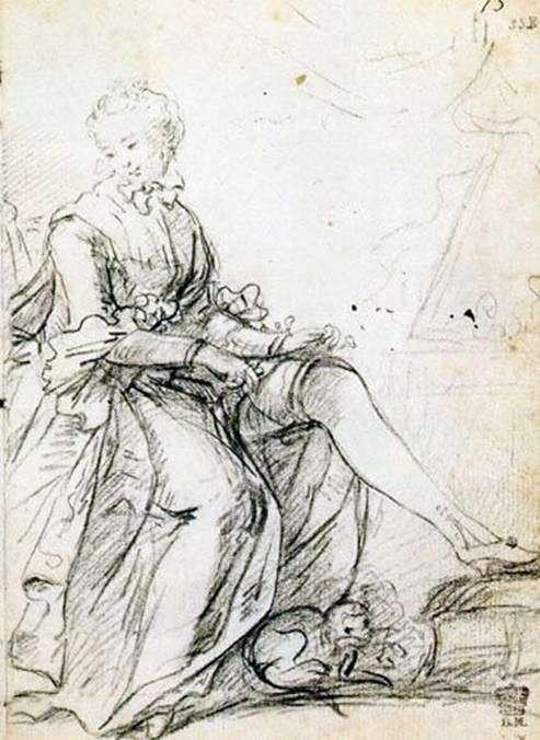Garter Tying Woman   Joshua Reynolds
