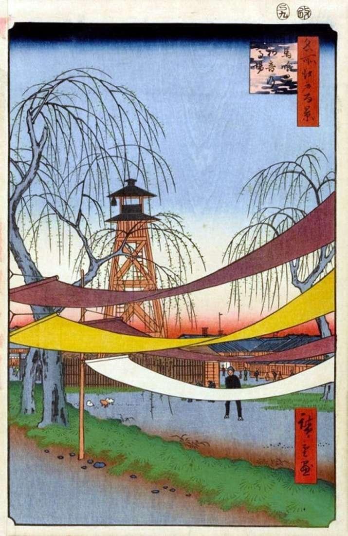 Pierścień wyścigowy Hatsune w dzielnicy Bakurote   Utagawa Hiroshige