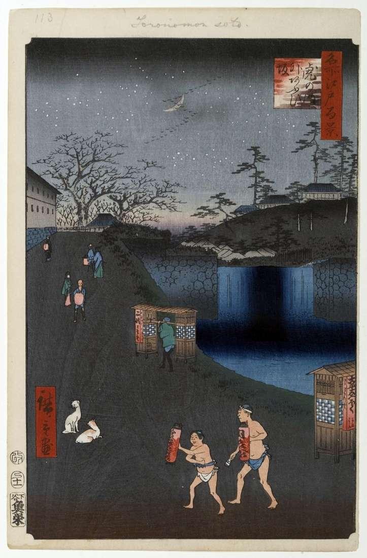 Stok Aoidzaka poza bramą Toranomon   Utagawa Hiroshige