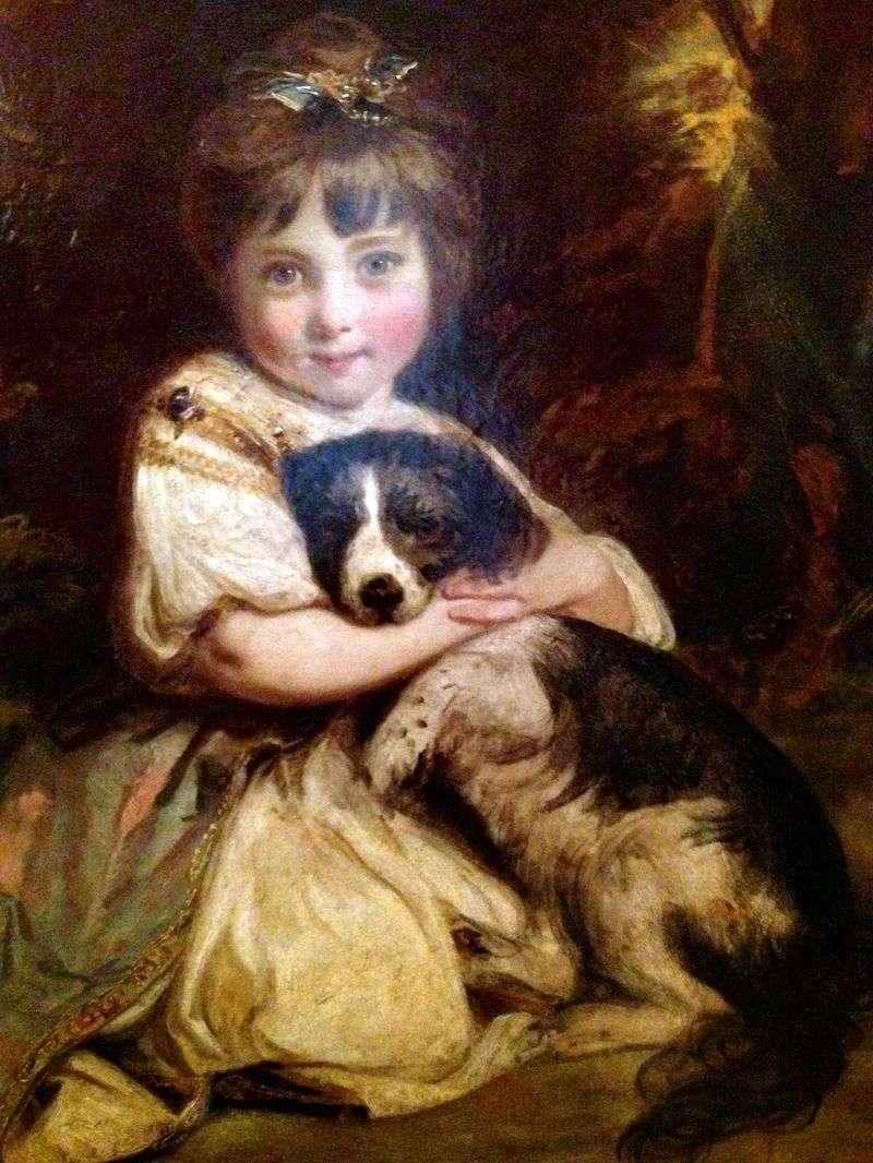 Portret panny Bowles z psem   Joshua Reynolds