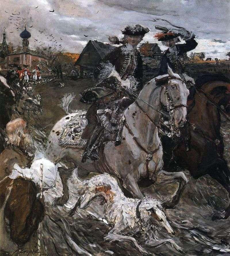 Wyjazd cesarza Piotra II i Tzarerevny Elizabeth Petrovna na polowanie   Valentin Serov