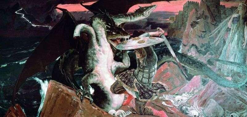 Bitwa pod Iwanem Tsarevichem z wężem trójgłowym Wiktorem Vasnetowem