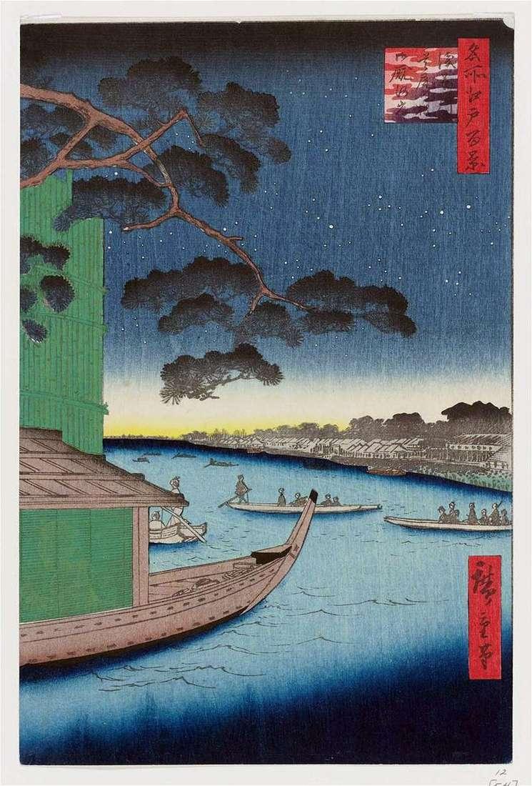 Sosna Syubi no Matsu na rzece Asakusagawa, nasyp Omayagashi