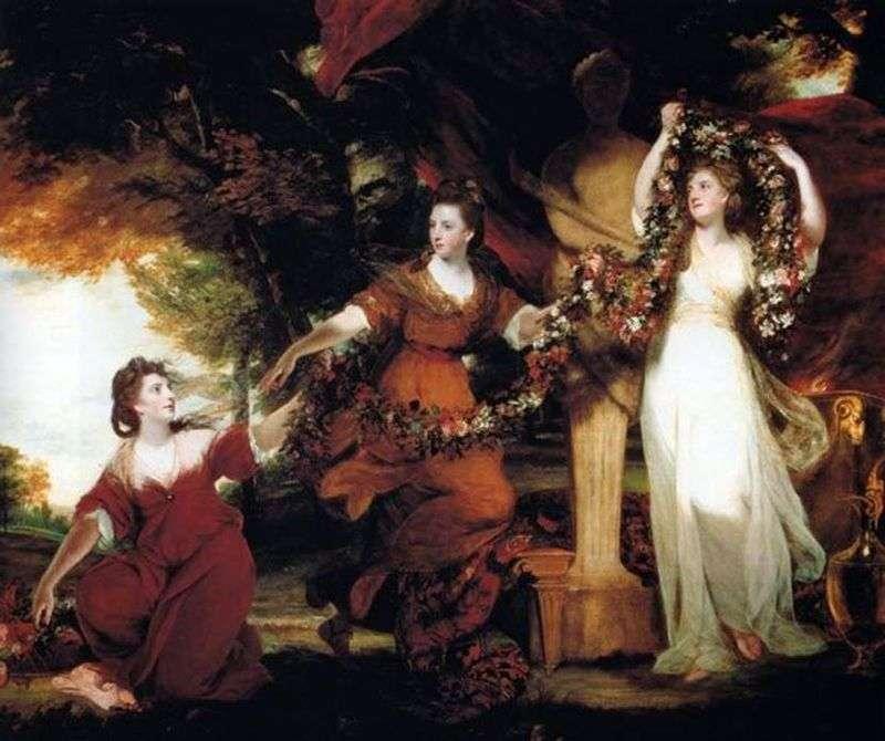 Trzy siostry Montgomery w postaci łask, ozdobione kwiatami posąg Hymen   Joshua Reynolds