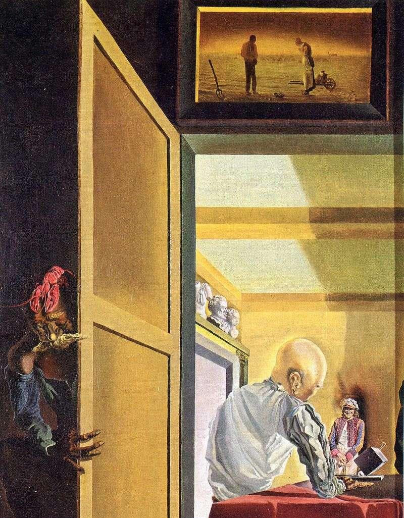 Gala i Angelius Millet tuż przed początkiem stożkowej anamorfozy   Salvador Dali