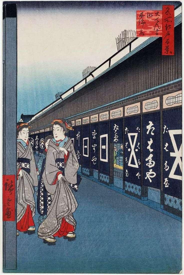 Sklepy manufaktur ulicznych w dzielnicy Odemmate   Utagawa Hiroshige