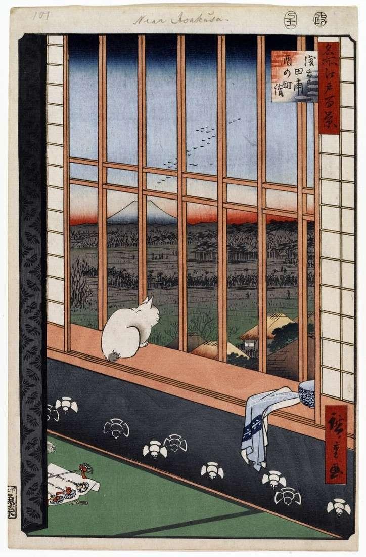 Torinomat Festival na polach ryżowych Asakus   Utagawa Hiroshige