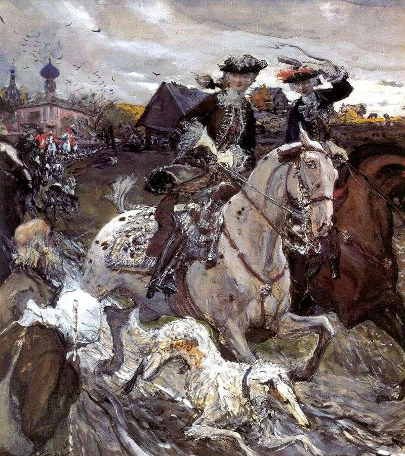 Piotr II i Tosearewna Elżbieta na polowaniu na ogary   Valentin Serow