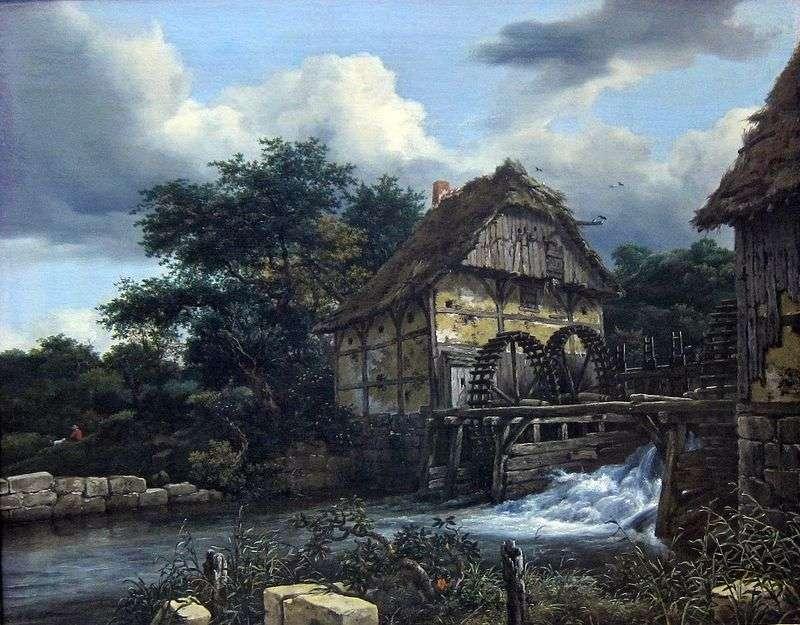 Dwa młyny wodne   Jacob van Ruisdal